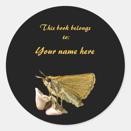 Skipper on Milkweed Bookplate Sticker