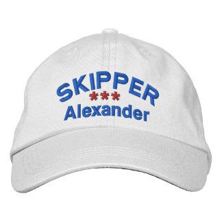SKIPPER Personalized Custom Name WHITE RED BLUE Baseball Cap