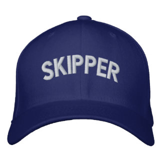 Skipper text embroidered baseball caps
