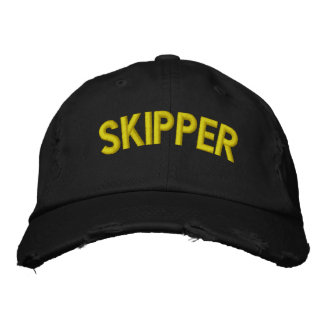 Skipper text for sailing or sports teams embroidered cap