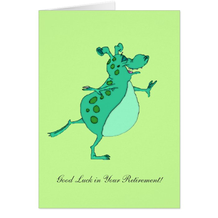 Skipping Green Alien- Good Luck in Your Retirement Greeting Card