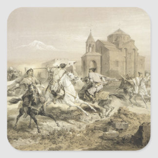 Skirmish of Persians and Kurds in Armenia, plate 1 Square Sticker