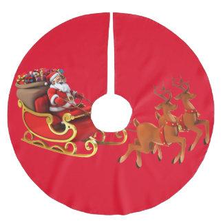 "Skirt for ávore of Christmas ""Papa Noel/Sleigh "" Brushed Polyester Tree Skirt"