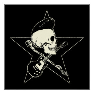 Skirt n roll Skull Poster