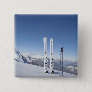 Skis and Ski Poles 15 Cm Square Badge