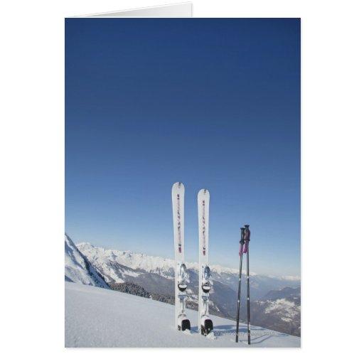 Skis and Ski Poles Card