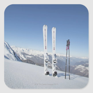 Skis and Ski Poles Square Sticker