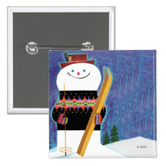 Skis for Snowman 15 Cm Square Badge