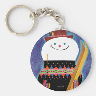 Skis for Snowman Basic Round Button Key Ring