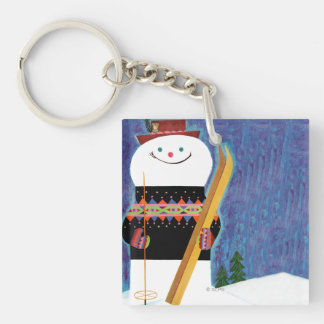 Skis for Snowman Double-Sided Square Acrylic Key Ring