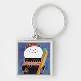 Skis for Snowman Silver-Colored Square Key Ring