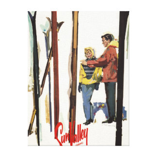 Skis Standing Up in Snow by Couple Poster Canvas Print