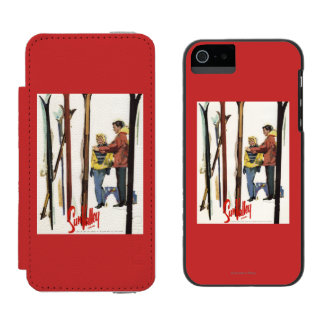 Skis Standing Up in Snow by Couple Poster Incipio Watson™ iPhone 5 Wallet Case
