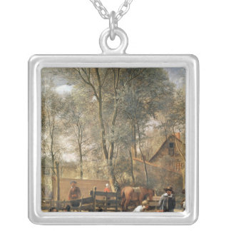 Skittle Players outside an Inn, c.1660-63 Silver Plated Necklace