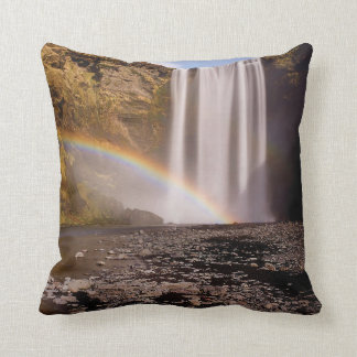 "Skógafoss Polyester Throw Pillow 16"" x 16"""