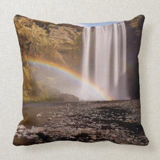 "Skógafoss Polyester Throw Pillow 20"" x 20"""