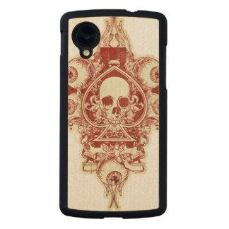 Skull ace of spades carved® maple nexus 5 slim case