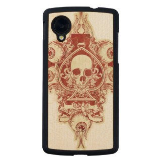 Skull ace of spades carved® maple nexus 5 case