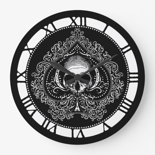 Skull Ace Of Spades Large Clock