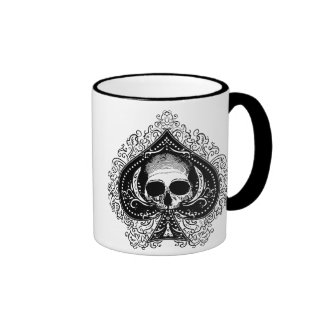 Skull Ace of Spades Ringer Mug