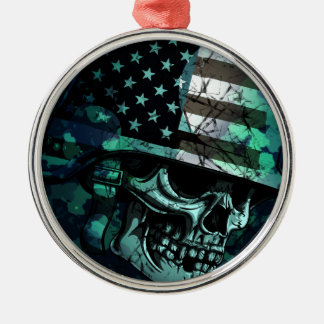 Skull America Soldier Dead Zombie Christmas Ornament