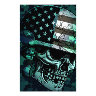 Skull America Soldier Dead Zombie Customized Stationery
