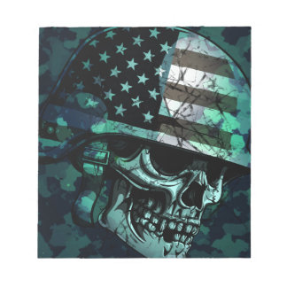 Skull America Soldier Dead Zombie Notepad