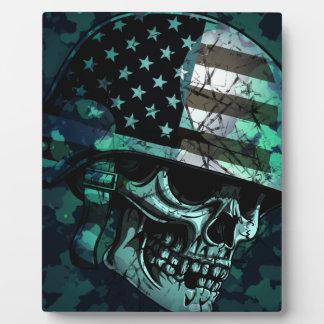 Skull America Soldier Dead Zombie Plaque
