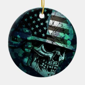 Skull America Soldier Dead Zombie Round Ceramic Decoration
