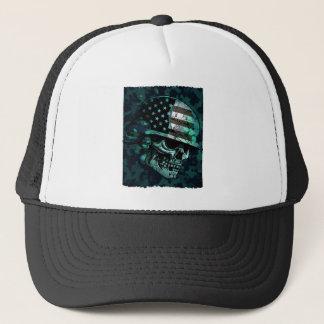 Skull America Soldier Skeleton Dead Zombie Trucker Hat