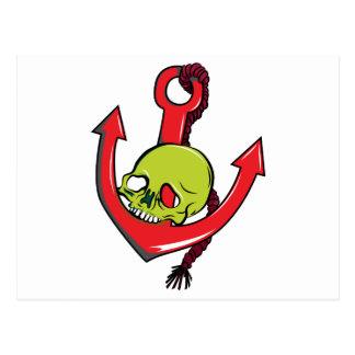 Skull Anchor Tattoo Skull Fantasy Art Postcard