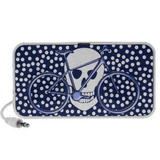 Skull and bike on polka dots speaker system