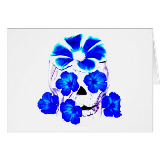 Skull and Blue Flowers Greeting Card