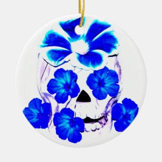 Skull and Blue Flowers Round Ceramic Decoration