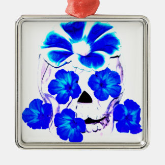 Skull and Blue Flowers Silver-Colored Square Decoration
