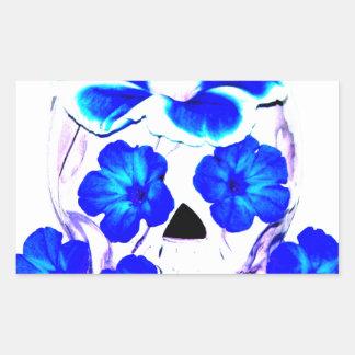 Skull and Blue Flowers Rectangular Sticker