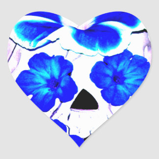 Skull and Blue Flowers Heart Stickers