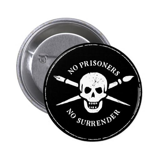 Skull and Bones Brush And Pen Button Buttons