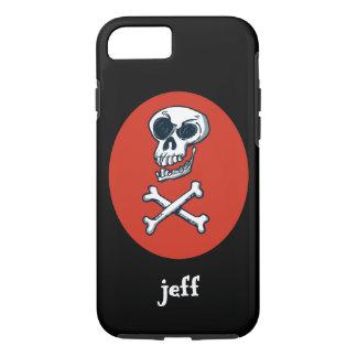 skull and bones cartoon style illustration iPhone 8/7 case