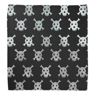 Skull and Bones Halloween Bandanna Silver Black