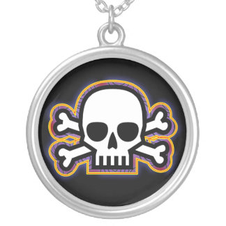 Skull and Bones Round Pendant Necklace