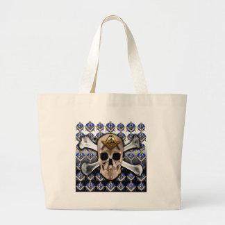 Skull and Bones Square Compass Black White Bags