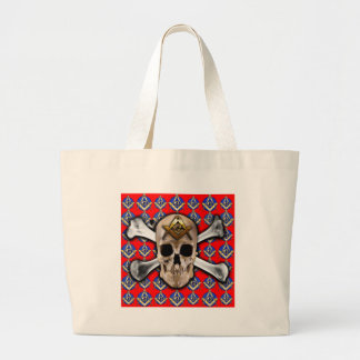 Skull and Bones Square Compass Bright Red Bags