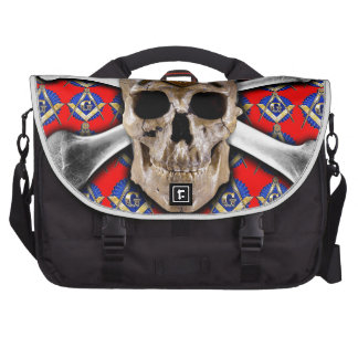 Skull and Bones Square Compass Bright Red Laptop Messenger Bag