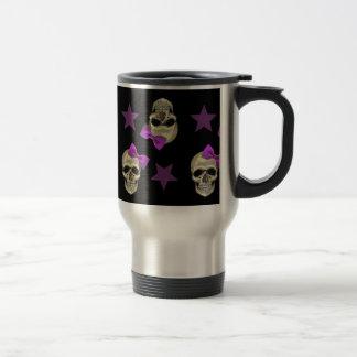 skull and bows stainless steel travel mug