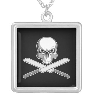 Skull and Bread Knives Square Pendant Necklace