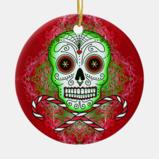 Skull and Candy Canes Ornament