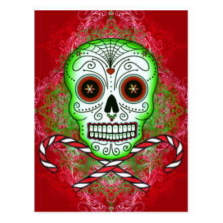 Skull and Candy Canes Postcard