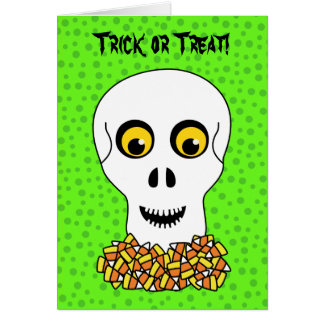 Skull and Candy Corn Halloween Greeting Card