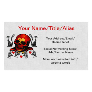 Skull and Cats Double-Sided Standard Business Cards (Pack Of 100)